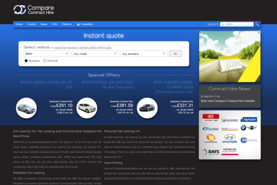 Screenshot of Compare Contract Hire branding